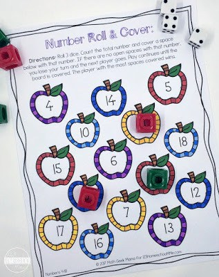 free printable, apple themed roll and cover math games