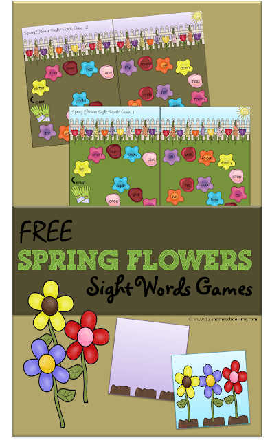 Make practicing Dolch sight words fun with this free printable spring flower sight word game for kindegarten and 1st grade students. Children will work their way around the pretty flowers on the first grade sight words games as they practice sight words with this spring printable activities. Simply download pdf file with printable sight word games and you are ready to read, play, and learn with this sight word activities for first grade.