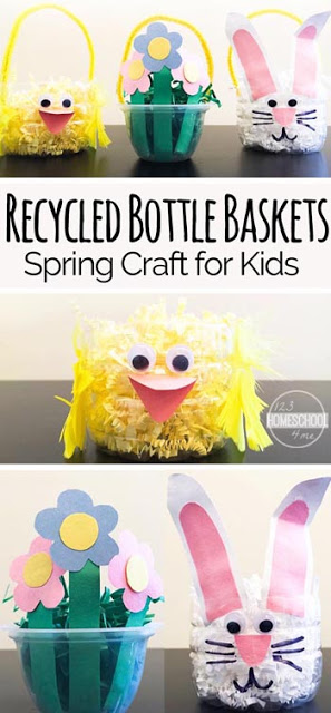 Super cute, easy to make Easter basket craft for kids perfect spring craft for kids. this simple easter craft is made out of recycled bottles  #springcraft #craftsforkids #recycled