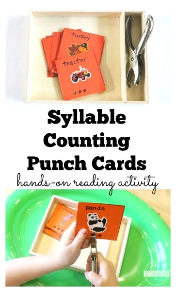 Syllable Counting Actiity for kindergarten first grade 2nd grade - use stickers to make your own or use the FREE printable black and white syllable cards. GREAT activity!!