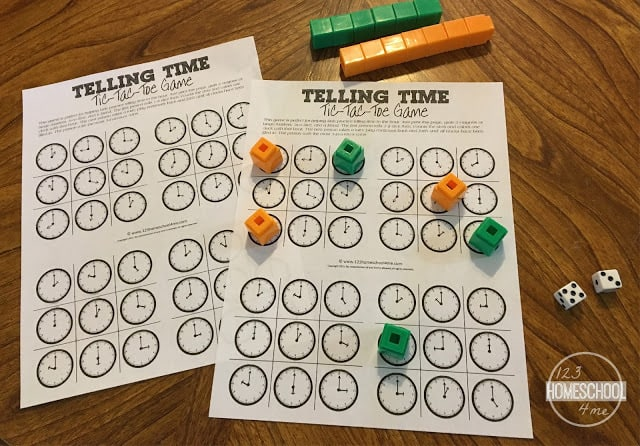 FREE Tick Tac Toe Telling Time Game for kindergarten, first grad,e and 2nd grade kids