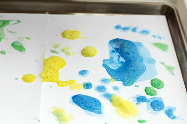 dump the paint onto your card stock inside a tray