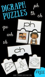 Teach digraphs for kids with these super cute, free printable digraph puzzles. This digraph activity is perfect for kindergarten, first grade, and 2nd grade students who are working on reading and spelling more complex words. Thisphonics activity allows students to work on ph, th, ch, gu, wh, and sh digraphs. Simply download pdf file withdigraph printablesto use in color or in black and white.