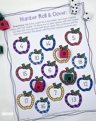 number sense math games for Kindergarten and first grade