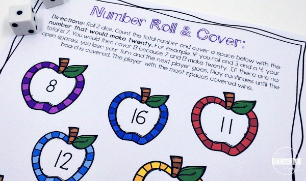 roll and build number sense for addition within 20 for preschool, pre k, and kindergarten