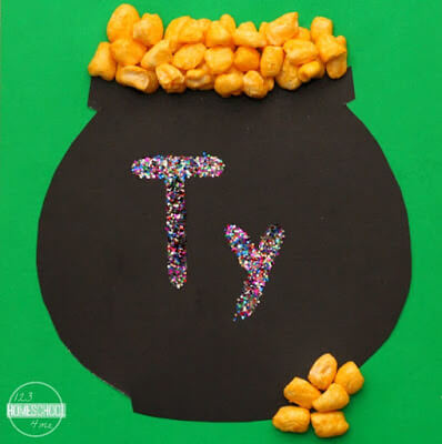 use glue and glitter to write your childs name to help them with name recognition