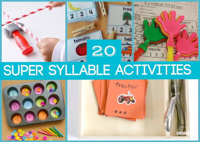 20 fun, hands on syllable activities to make learning aout syllables fun for kids
