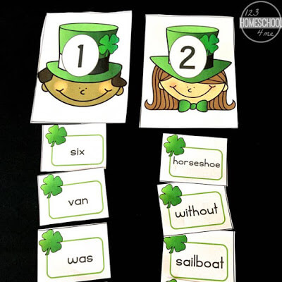 Free printable st patricks day syllable center for kindergarten, first grade, second grade, homeschool