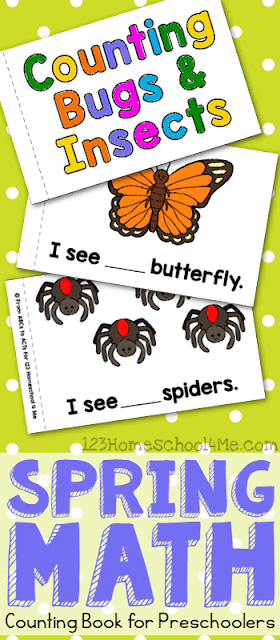 FREE Count to 10 Bugs & Insects Book for Preschoolers - NO PREP as you print the black and white pages to make your own counting worksheets perfect for preschool math, spring activity for kids. #counting #springmath #preschool