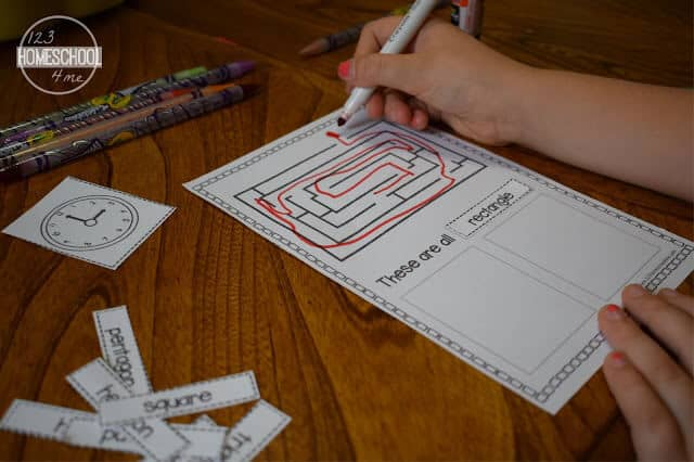 free shape printable for prek, kindergarten, and first grade kids to use as a shape activity