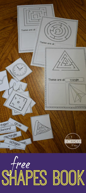 FREE Shapes Book! Kids will have fun learning shapes with this LOW PREP shapes activities preschool, for toddlers, kindergarten, first grade, and 2nd. This shapes printables free includes shape mazes, shape words, and 2 real work shapes to color / cut & paste for each shape.