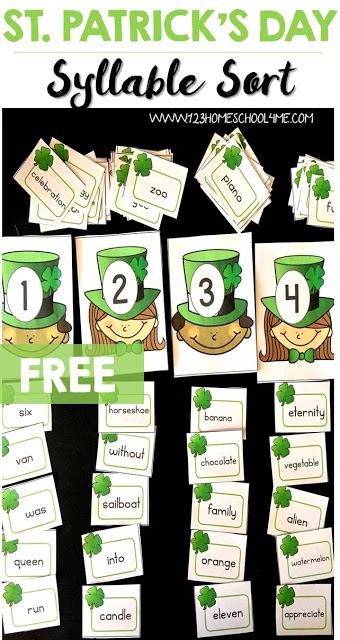 How do you teach syllables? There are so many ways to get students to understand syllables, but whe it is March, the best way to help kindergaten, first grade, and 2nd graders is with thisShamrock Syllables activity. These St Patricks Day Printables is a fun, hands-on sorting activity that is sure to be as fun as it is educational! ThisSt Patricks Day Activities is such a fun litearcy activity! Simply download pdf file with Free St Patrick's Day Printables and you are ready to play and learn!
