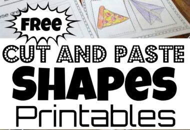 Kids will have fun making their very own shapes book with this no prep, free Cut and Paste Shapes Printable. Download the pdf file and complete the a shape maze, shape word to identify, and glue 2 real world shape pictures to each cut and paste shapes worksheets. Or turn all the shape worksheets into a book including squares, circles, triangles, ovals, hexagons, octagons, and rectangles. This shapes cut and paste is a great activity for preschool, pre-k, kindergarten, and first grade students.