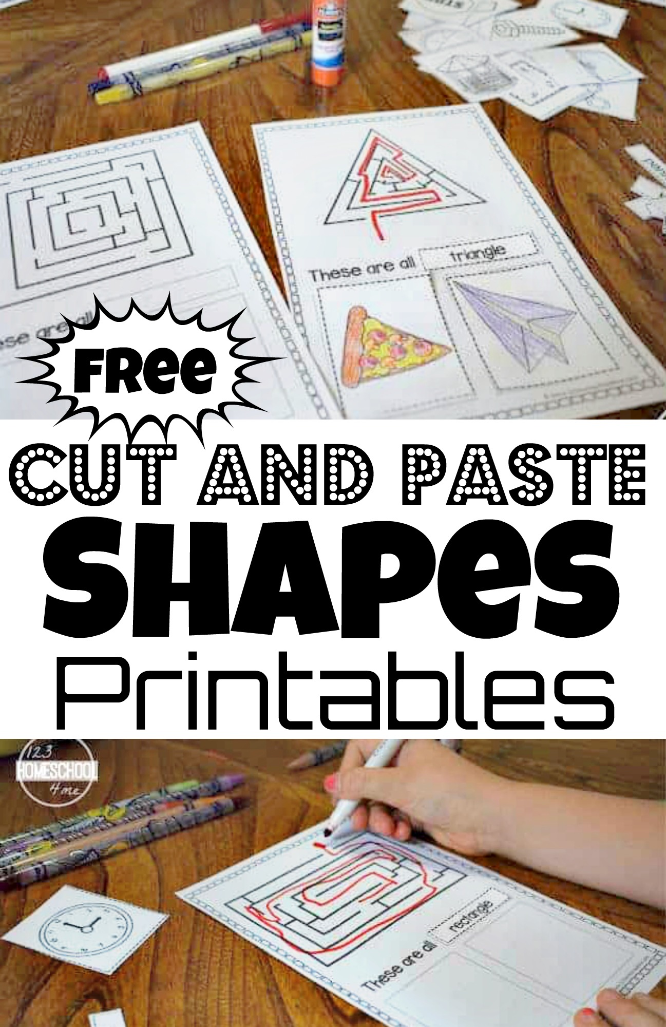 Kids will have fun making their very own shapes book with this no prep, free Cut and Paste Shapes Printable. Print the pdf file and complete the a shape maze, shape word to identify, and glue 2 real world shape pictures to each cut and paste shapes worksheets. Or turn all the shape worksheets into a book including squares, circles, triangles, ovals, hexagons, octagons, and rectangles. This shapes cut and paste is a great activity for preschool, pre-k, kindergarten, and first grade students.