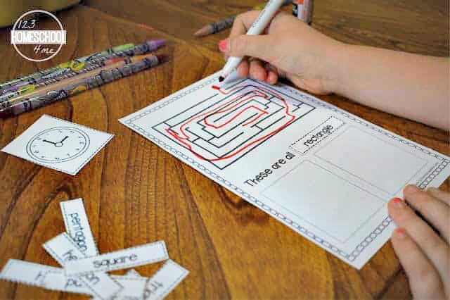 free cut and paste shapes worksheets for preschool, pre-k, kindergarten, and first grade students