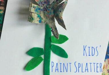 Kids Paint Splatter Art Activity Flower Craft