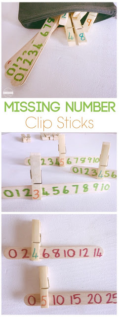 Missing Number Clip Sticks - kids will have fun practicing counting and skip counting with this fun, hands on math activity for preschool, kindergarten, and first grade kids #skipcounting #counting #mathactivity #homeschooling