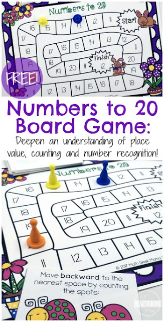 FREE Spring Counting Game to help Kindergarten age kids practice numbers 1 20 (math games, math centers, homeschool)