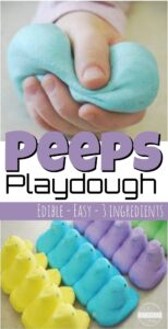 Peeps Play dough - such a fun, easy-to-make edible playdough recipe that makes a fun easter activity for toddlers, preschoolers, pre k, kindergarteners, first graders and more. Such a fun play recipe for Easter in April. #peeps #easteractivity #easterplaydough #playdoughrecipes #preschool