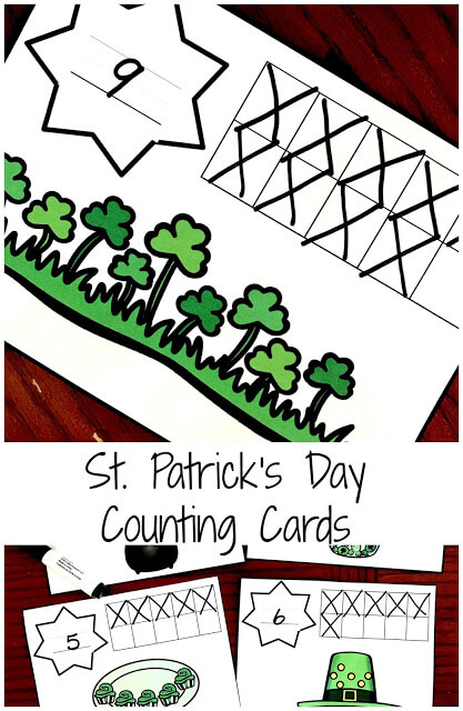 FREE St Patricks Day Counting cards - these are such a fun way for preschool, prek, and kindergarten age kids to practice counting, ten frames, and handwriting in march.