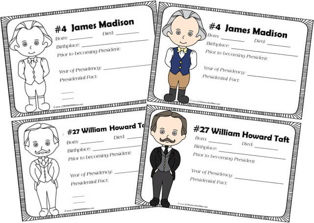 print presidents of the united states book for kids in color or black and white