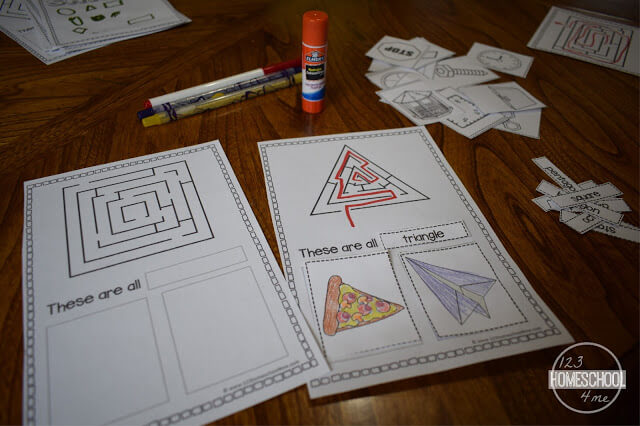 shape worksheets that include real world objects for kids to identify in preschool, prek, kindergarten, first grade, 2nd grade