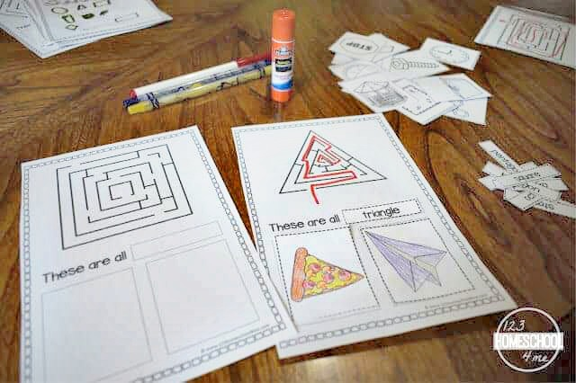 shapes cut and paste activity for preschoolers, kindergartners, and grade 1 children