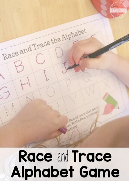 FREE Race & Trace Alphabet Game - this is such a fun way for preschool, prek, kindergarten age kids to practice writing their lettesr (homeschool)