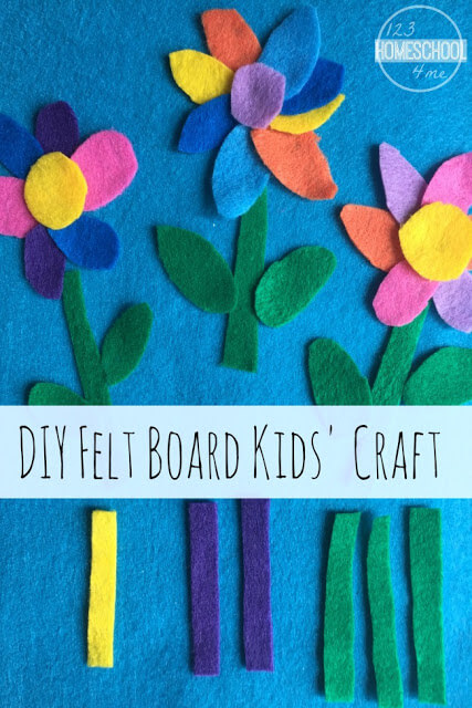 Felt Flower Board Craft - This is such a fun to make craft for kids perfect for toddler, preschool, prek, kindergarten and first grade (spring crafts, kids activities)