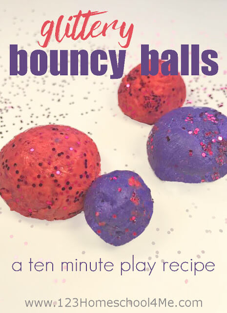 Easy to Make Glitter Bouncing Balls - these are so simple to make and so much fun to play with! This is such a fun play recipe for toddler, preschool, prek, kindergarten, first grade, 2nd grade and more. Must do childhood kids activities