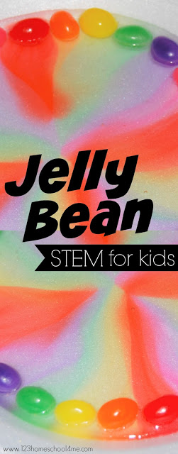 Get ready for your kids to say WOW with this really beauitful jelly bean experiment.  This jelly bean stem activity uses simple materials to help kids explore a variety of areas to create a truly beautiful rainbow activities for preschoolers. Use this jelly bean science experiment with preschool, pre-k, kindergarten, first grade, 2nd grade, 3rd grade, and 4th graders. This rainbow jelly beans is a truly beautiful spring activity for kids.
