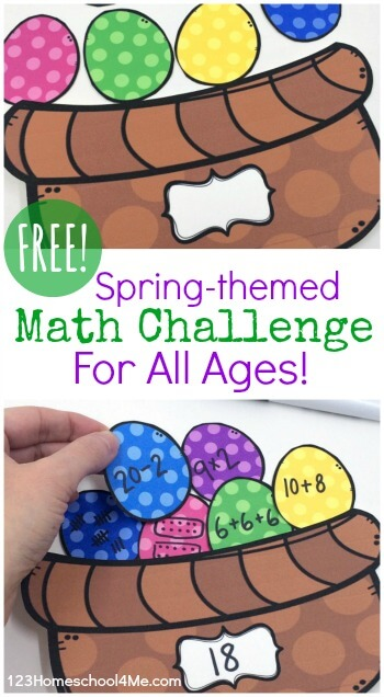 FREE Easter Basket Math Challenge - fun math activity for Easter that allows kids to practice addition, subtraction, multiplication, division, tally marks, number words, and more for kindergarten, first grade, 2nd grade, 3rd grade, 4th grade, 5th grade, 6th grade,  #math #homeschooling #easter
