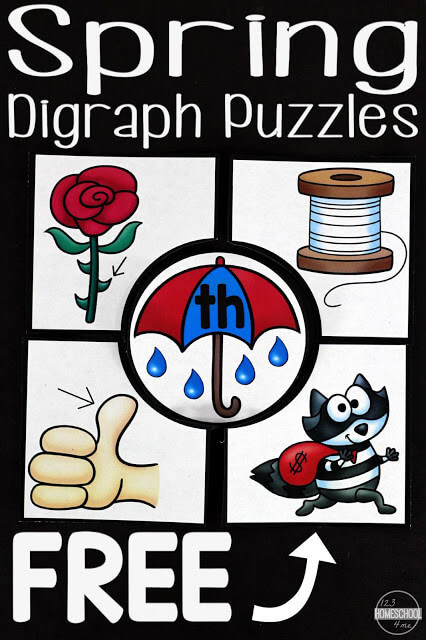 FREE Spring Digraph Puzzles to help kindergarten, first grade, 2nd grade practice identifying blends in words - ch, ph, sh, th, and wh (reading, grade 1, grade 2, homeschool, free printable, literacy center)