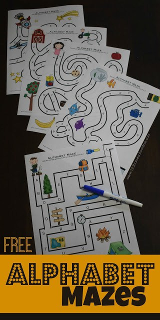 Help kids practice their abcs with these super cute, free printable alphabet mazes. Each of the 5 alphabet maze worksheets are a fun way for preschool, pre k, kindergarten, and first grade kids to practice alphabet letters from A to Z. Included in the ABC printable are both upper and lower case letters.