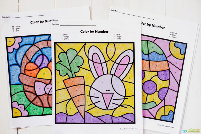 color by number easter sheets are a fun prsechool math activity for april