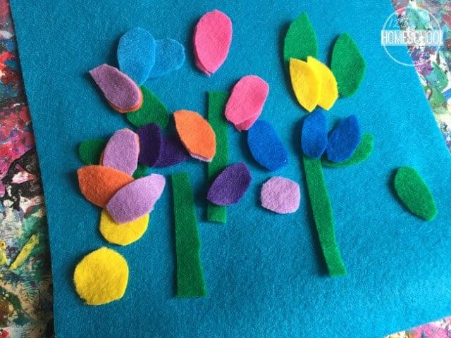 cut petals and stem from different color felt