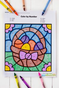 FREE easter color by number - super cute printable for working on number recognition, strengthening fine motor skills, and a fun easter activity with an Easter worksheets for April. This is a fun math activity for toddlers, preschoolers, and kindergartners #easterprintable #easteractivitiy #homeschool #prek
