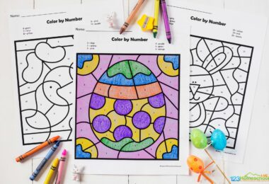 easter colour by numbers - this coloring sheet features a decorated easter egg for children to work on number recognition