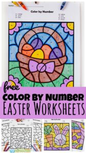 FREE Color by Number Easter Worksheets - super cute free printable to help toddlers, preschool, pre k, and kindergarten age students work on number recognition and srengthening fine motor skills with a fun easter activity for april #preschool #easterworksheet #easterprintable #prek