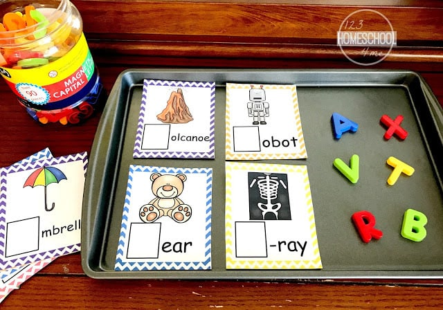 these phonics cards are a fun way for prek and kindergarten age kids to work on phonemic awareness and beginning sounds with our phonics printable and magnetic letters