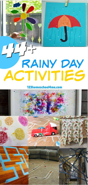 44 Rainy Day Activities - Rain in the forecast? Get ready to have the BEST day ever with these fun, creative and unique rainy day activities for kids of all ages! From unique forts, crafts, art projects IN the rain, and more! (preschool, toddler, kindergarten, spring, fall, rain, kids activities)