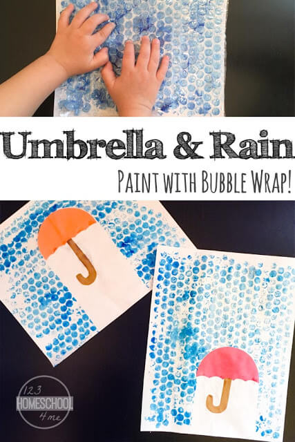 This outrageously fun Rain Craft is as fun to make as it beautiful! Kids will love thebubble wrap painting tecnique that is not only pretty, but super EASY too!  This bubble wrap rain craft is such a fun spring craft for kids of all ages! Make this umbrella craft with toddler, preschool, pre-k, kindergarten, and first grade students.