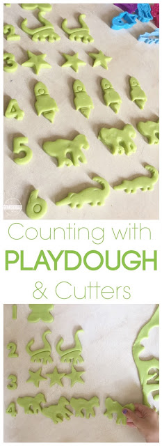 Counting with Playdough & Cookie Cutters Math activity for toddler, preschool, prek, kindergarten - super clever!!