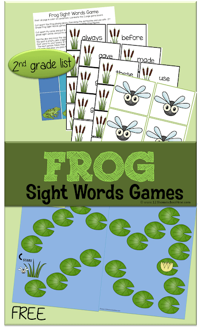 FREE Frog Sight Word Games - This free printable educational game will help kids practice sight words. This game is perfect for 1-4 players and reviews the 2nd grade dolch sight words. (homeschool, sight words, educational games, 1st grade, 2nd grade, 3rd grade)