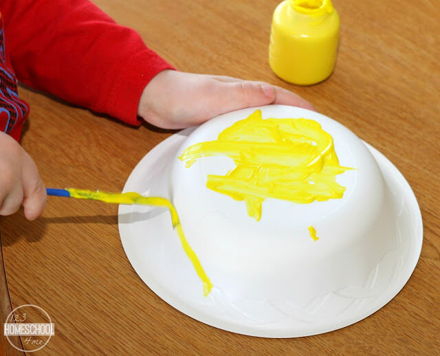 paint paper bowl yellow