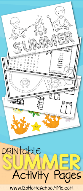 FREE Summer Kids Activity Sheets - looking for some no prep, free printable activity sheets for kids? LOVE these - so many choices and great for vacation, road trips, printing before out to dinner, etc. for preschool, kindergarten, first grade, 2nd grade, 3rd grade #summer #worksheetsforkids #preschool