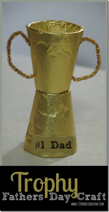 Trophy Fathers Day Craft - this is such a cute craft for kids for olympic theme, sports theme, new years resolution, father's day, and more! (toddler, preschool, prek, kindergarten, first grade, 2nd grade) #fathersday #craftsforkids #trophy