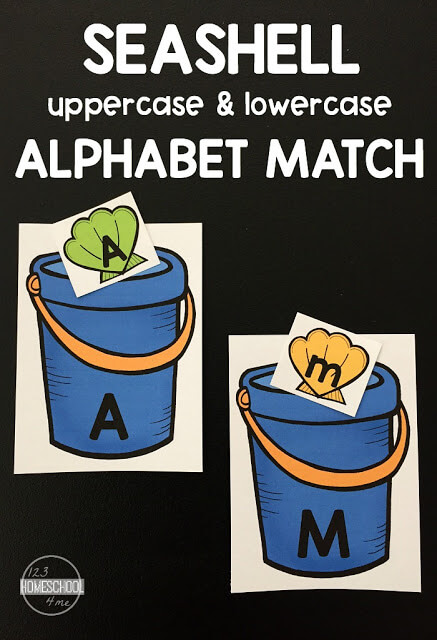 FREE Seashell Matching Upper and Lowercase Letters - this is such a fun way for preschool, prek, and kindergarten age to practice identifying uppercase and lowercase letters. #alphabet #preschool #kindergarten
