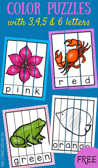 Learning colors is one thing, but learning to read color words is a huge big step up for young learners. This Color Word Puzzle pack is a fun way for preschool, pre-k, kindergarten, and first grade students to learn color names. Each of the free color puzzles include a picture in the featured colour word and a letter. Simply download pdf file with color words printableand you are ready to work on learning color words.