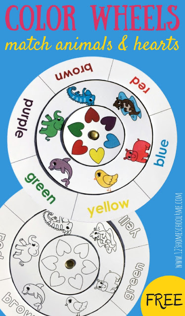 Learn Colors with this fun, free printable Color Matching Wheels activity for toddler, preschool, and kindergarten age kids